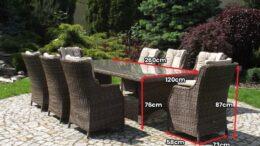 Duży stół ogrodowy z technorattanu z fotelami rattanowymi LIVORNO 260 NR 0449