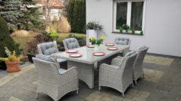 Duży stół ogrodowy z technorattanu z fotelami rattanowymi TULON 200 NR 051