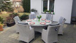 Okrągły stół ogrodowy z technorattanu z fotelami PROWANSJA S6 - NR 0045