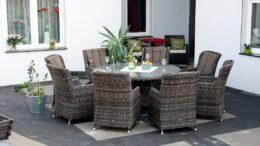 Okrągły stół ogrodowy z technorattanu z fotelami PROWANSJA S8  NR 0046