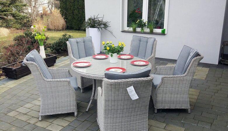 PROWANSJA S4 - okrągły stół ogrodowy z technorattanu z fotelami - NR 044