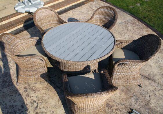 RODOS 130 PE - okrągły stół ogrodowy z technorattanu - NR 0075