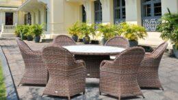 RODOS 150 PE - okrągły stół ogrodowy z technorattanu z fotelami - NR 0076