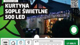 Kurtyna Sople LED 24,5 m • 500 LED • wyłącznik czasowy • zewnętrzne oświetlenie świąteczne NR 0230