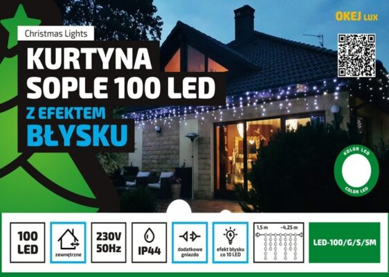 Kurtyna Sople LED 4,25 m • 100 LED • z błyskiem • na zewnątrz • możliwość łączenia • oświetlenie świąteczne NR 0210