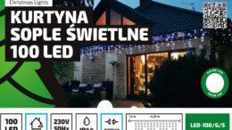 Kurtyna Sople LED 4,25 m • 100 LED • zewnętrzne oświetlenie • możliwość łączenia • oświetlenie świąteczne NR 0191
