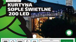 Kurtyna Sople LED 8,75 m • 200 LED • GRUBE IP44 • możliwość łączenia • zewnętrzne lampki choinkowe NR 0192