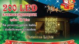 Kurtyna świetlna • 1,65 m x 2m • 200 LED • wewnętrzne oświetlenie • 2 kolory • oświetlenie świąteczne NR 0195