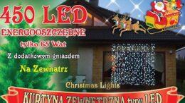 Kurtyna świetlna 2,2m x 2,5m • 450 LED • zewnętrzne lampki choinkowe • wymienne wiązki • Grube IP44 lampki LED NR 0201