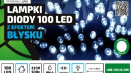 Sznur świetlny 10 m • 100 LED z błyskiem • na zewnątrz • możliwość łączenia • oświetlenie świąteczne NR 0209