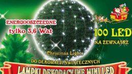 Lampki na druciku • sznur 10 m • 100 LED • zewnętrzne oświetlenie świąteczne NR 0203