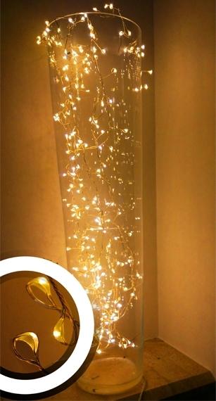 Lampki na druciku 10 wiązek po 2 m • 200 LED • zewnętrzne oświetlenie świąteczne NR 0233