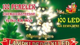 Sznur świetlny 10 m • 100 LED perełki • zewnętrzne oświetlenie świąteczne NR 0205