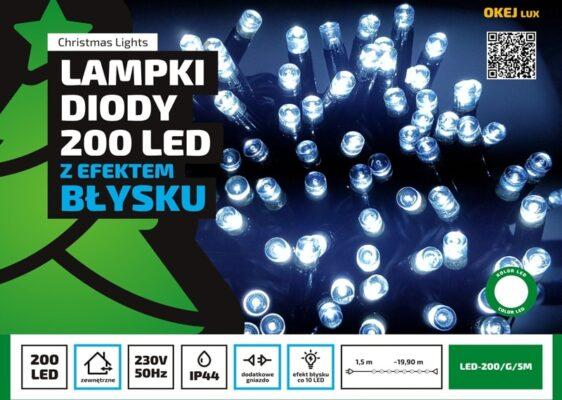 Sznur świetlny 20 m • 200 LED • z Błyskiem • zewnętrzne oświetlenie świąteczne NR 0234