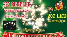 Sznur świetlny 20 m • 200 LED perełki •  zewnętrzne oświetlenie świąteczne NR 0206