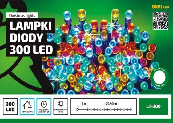 Sznur świetlny 30 m • 300 LED • zewnętrzne oświetlenie • wyłącznik czasowy • oświetlenie świąteczne NR 0227