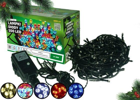 Sznur świetlny 50 m • 500 LED • wyłącznik czasowy • zewnętrzne oświetlenie świąteczne NR 0228