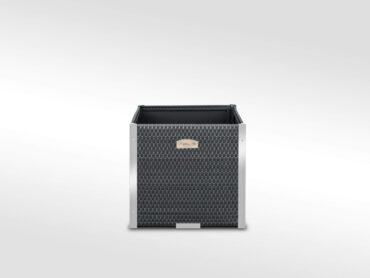Donica kwadratowa z technorattanu listwy aluminiowe z dociepleniem lub bez 46x46x46 NR 0320