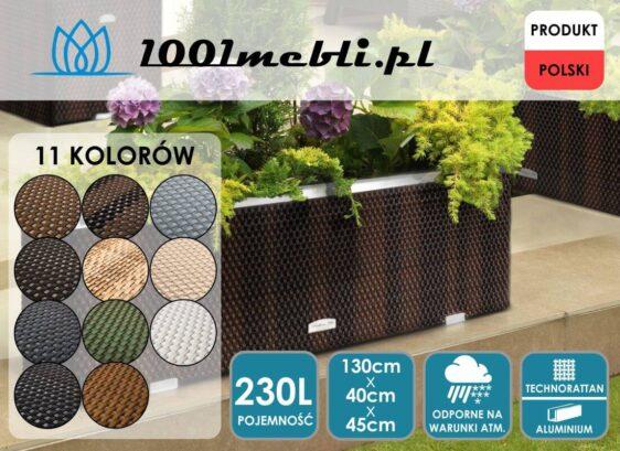 Donica ogrodowa technorattanowa podłużna 130x40x45 cm NR 0312