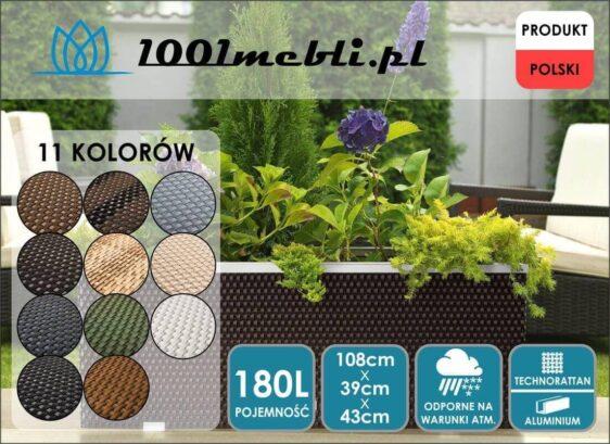 Donica ogrodowa z technorattanu podłużna 108x39x43 cm NR 0313