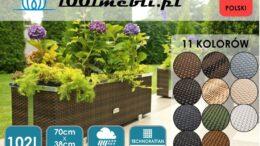 Donica ogrodowa z technorattanu podłużna 70x38x40 cm NR 0317