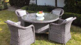 Okrągły stół ogrodowy z technorattanu z fotelami PIREUS 130 NR 0327