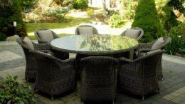 PIREUS 180 - okrągły stół ogrodowy z technorattanu z fotelami - NR 0329