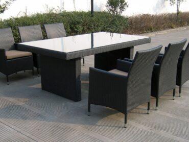 BURGAS 180 - stół ogrodowy z technorattanu z fotelami - NR 0404