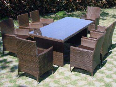 BURGAS XXL - technorattanowy stół ogrodowy z fotelami - NR 0405