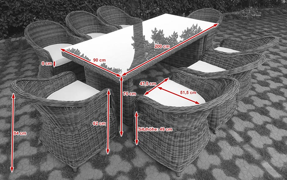 duży stół ogrodowy z technorattanu