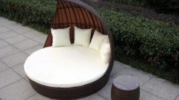 FANTAZJA - okrągłe łóżko ogrodowe 168 cm z baldachimem, leżanka ogrodowa - NR 0401