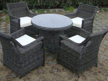 FIRENZE - okrągły stół ogrodowy technorattanowy z fotelami - NR 0400