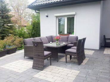 MADERA GRANDE - modułowy narożnik ogrodowy ze stołem ogrodowy i fotelami - NR 0377
