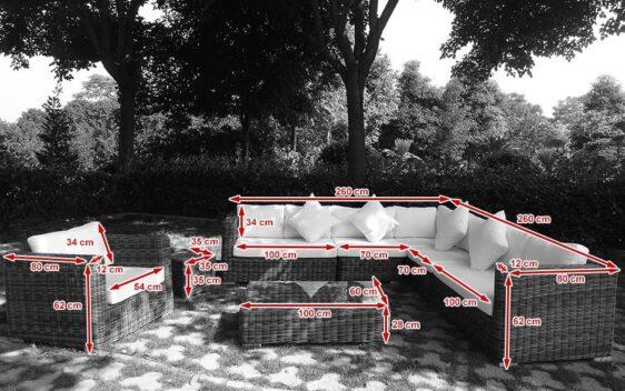 REUS GRANDE - duży narożnik ogrodowy z technorattanu, 2 kpl. poszewek - NR 0442