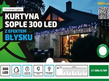 Kurtyna Sople LED 14,5 m • 300 LED • z Błyskiem • wył. czasowy • zewnętrzne oświetlenie świąteczne NR 0446