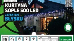 Kurtyna Sople LED 24,5 m • 500 LED • z efektem FLASH • wył. czasowy • zewnętrzne lampki choinkowe SOPLE NR 0447
