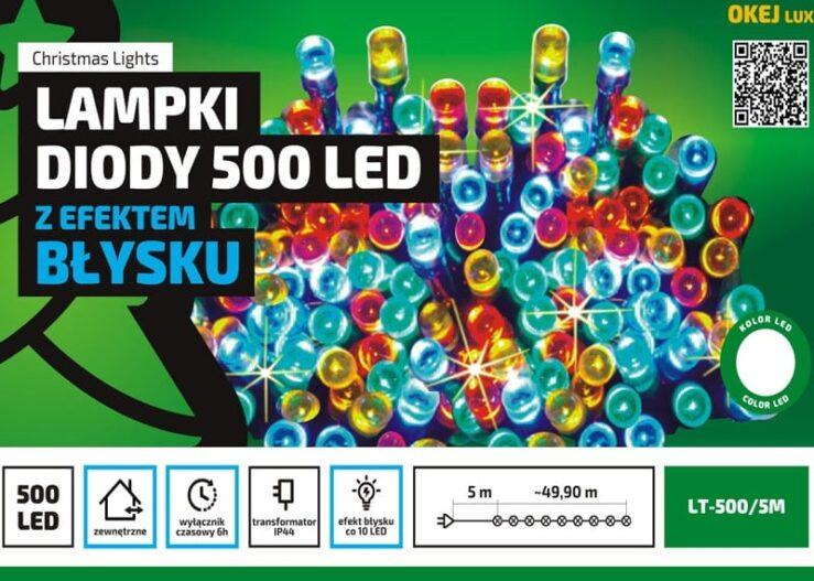 Sznur świetlny • 50 m • 500 LED • z Błyskiem • wył. czasowy • zewnętrzne oświetlenie świąteczne NR 0445