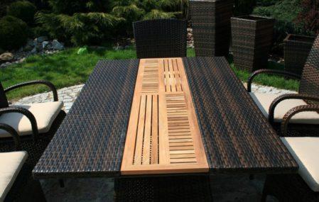 Stół ogrodowy technorattan teak