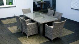 Prostokątny stół ogrodowy z technorattanu wraz z fotelami