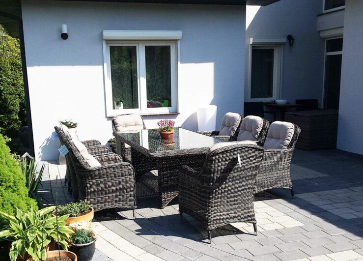 TULON 260 duży stół ogrodowy z technorattanu z fotelami NR 0450