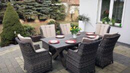ABRUZJA kompozytowy stół ogrodowy z fotelami NR 0550