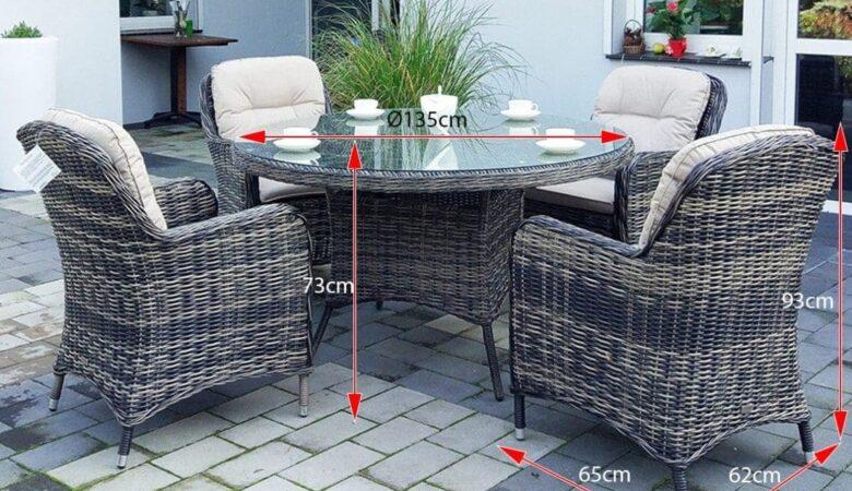 LACJUM 135 okrągły stół ogrodowy z technorattanu, z fotelami NR 0520