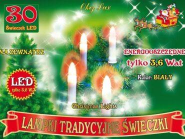 Tradycyjne świeczki sznur 14,5 m • 30 LED •  na zewnątrz • z uchwytami do mocowania • oświetlenie świąteczne NR 0202