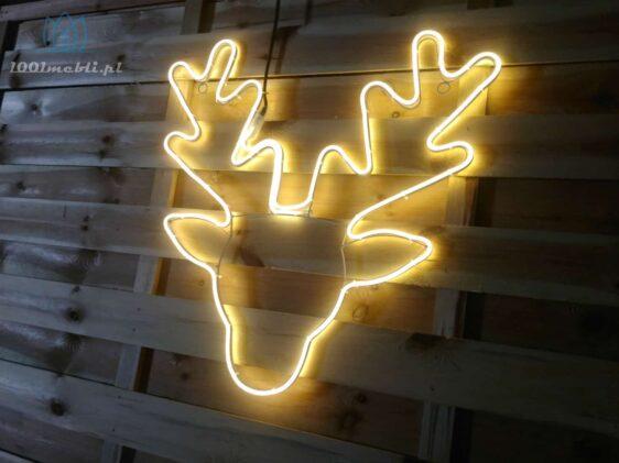 Figura Głowa Renifera LED • 62 x 62 cm • Ciepła Biel • na zewnątrz • oświetlenie świąteczne NR 0557