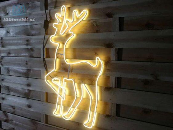 Figura Renifer LED • wys. 82 cm • Ciepła Biel • na zewnątrz • oświetlenie świąteczne NR 0556