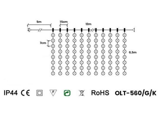 Kurtyna świetlna 12m x 0,5m • 560 LED • z gniazdem • zewnętrzne oświetlenie świąteczne LED NR 0553