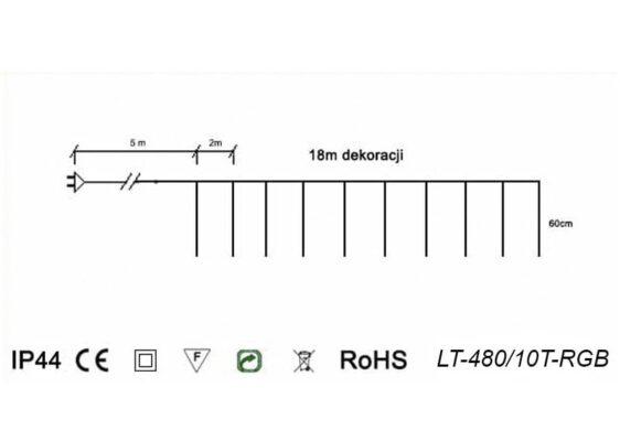 Sople LED zewnętrzne • 10 tub po 60 cm • długość dekoracji 18 m • efekt płynięcia • 480 LED • oświetlenie świąteczne LED NR 0555