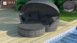 Technorattanowa leżanka ogrodowa Concha w kolorze szarym z szarymi poduszkami