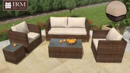 Zestaw mebli ogrodowych Aperto V w kolorze technorattanu brązowym z beżowymi poduszkami z dwoma fotelami sofą dwuosobowa oraz dwoma stolikami