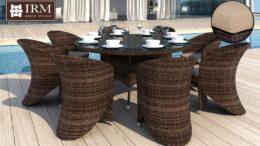 Duży okrągły stół ogrodowy z technorattanu z fotelami Merlo XXL I NR 0580